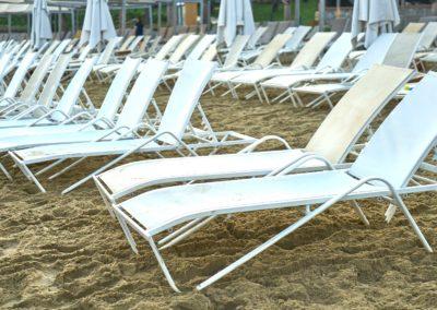 White sun loungers for Bawa Pools swimming pool range