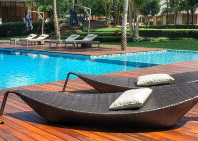 Sunbathing beds by the pool